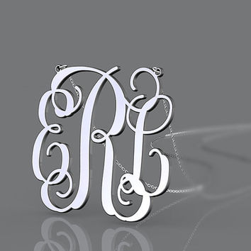 925 i sterling silver 1 inch monogram necklace--personalized monogram jewelry customized