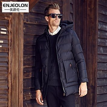 Enjeolon Brand Cotton Padded Hooded Jacket Men windproof,Parka Men Clothing Thick Quilted long type Coat Men free ship MF0020