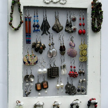 JEWELRY ORGANIZER HOLDER rack cream Shabby Chic / 25 - 40 Earrings / 24 - 36 Necklaces