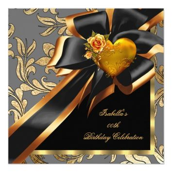 Gold Rose Heart Bow Gray Black Birthday Party 5.25x5.25 Square Paper Invitation Card