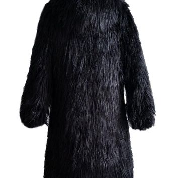 Black Fluffy Hooded Faux Fur Longline Coat