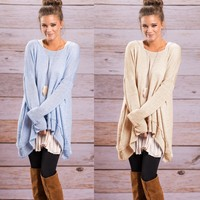 Women Fashion Knitted Blouses 2017 Ladies Oversized Loose Long Sleeve Shirt Blouse Baggy Irregular Tops Jumper