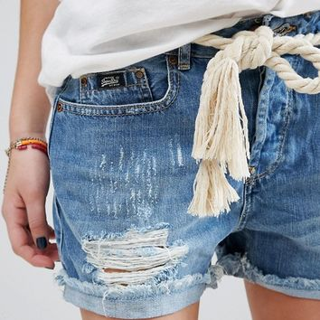 Superdry Denim Short with Rips and Rolled Hem at asos.com