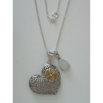"""Sterling Silver Mesh Heart and Blue Moonstone Teardrop Pendants w/ 18"""" 1.7 mm Sterling Silver Cable Chain"""