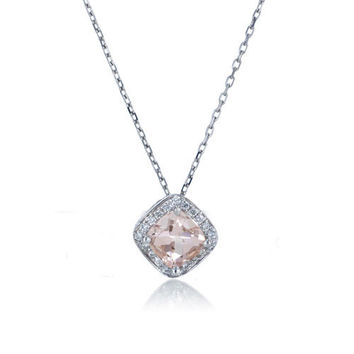 14 Karat White Gold 5mm Cushion Cut Morganite Diamond Halo Solitaire Slide Pendant Necklace
