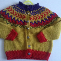 baby cardigan, sweater with buttons, 6-12 months,  traditional icelandic pattern, knitted, handmade, ready to ship, pure new wool