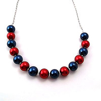 Red and Blue Pearl Necklace, Executive Fashion