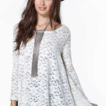 White Lace Loose Long-Sleeve Top