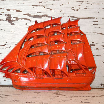 Pirate Ship up cycled burnt orange distressed home decor boys room decor bathroom decor