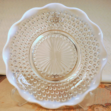 Vintage Fenton Opalescent Clear and White Hobnail Dish