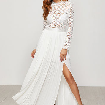 White Eyelet Embroidered Lace Electric Pleated Dress