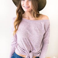 Lilac Heather Tie Front Top