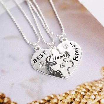 LNRRABC Sale 3 Pcs/set Charm Slivery Broken Heart Pendant Best Friends Forever Necklaces Jewelry Gift