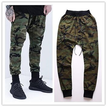 Kanye West Mens Joggers New Skinny Pants Camouflage Hip Hop Jogger Pants Military Camo Harem Cargo