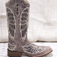 Corral Boots® Winged Cross Black Sequin Inlay