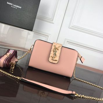 DCCK 1331 Saint Laurent Paris YSL Classic Ostrich pattern with deer pattern Fashion Shoulder bag pink