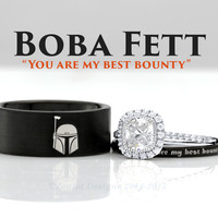 Star Wars Boba Fett His and Her's 3piece Engagement SET