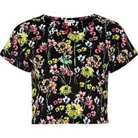 Black floral print cropped t-shirt - crop t-shirts - t shirts / tanks / sweats - women