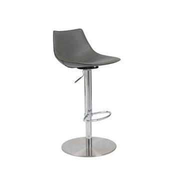 Eurostyle Rudy Adjustable Bar-Counter Stool in Gray & Stainless Steel