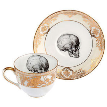 upcycled skull design gold teacup and saucer by melody rose | notonthehighstreet.com