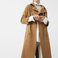 Cotton-blend knitted trench coat
