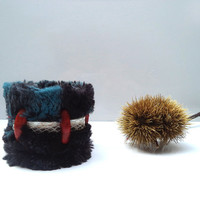 Medieval leather and fur cuff, black and blue bracelet with coral and printed snake skin details
