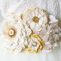 Floral Wedding Sash - Sunshine Yellow and Ivory White Blossoms