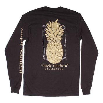Long Sleeve Preppy Pineapple Tee in Black by Simply Southern