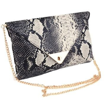 Women's Snake skin Print Accent Envelope Statement Clutch Bag