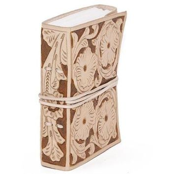 """Flower Embossed Leather Journal 5"""" x 7"""" (Gift Boxed)"""
