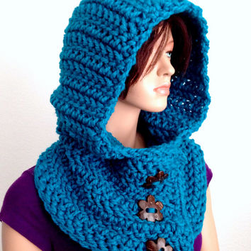 Crochet Hooded Cowl in Electric Blue/ Winter Hooded Neck warmer