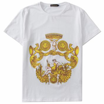 Versace 2019 new tide brand round neck fashion casual knit top white