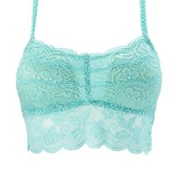 Light Turquoise Racerback Long Line Lace Bralette by Charlotte Russe