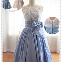 Short Taffeta Dresses, Taffeta Prom Dresses, Blue Taffeta Lace Bridesmaid Dresses, Short Sexy Homecoming Dresses, Cheap Cocktail Dresses