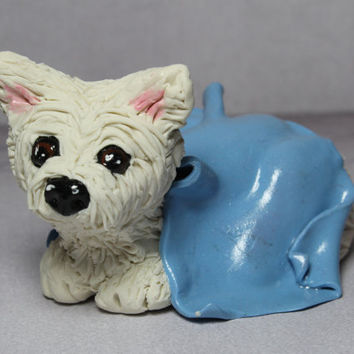 White Highland Terrier Figurine Polymer Clay Miniature