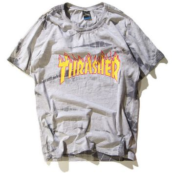 """""""THRASHER"""" print Flame Tie-dye gradient Sweethearts outfit round neck T-shirt"""