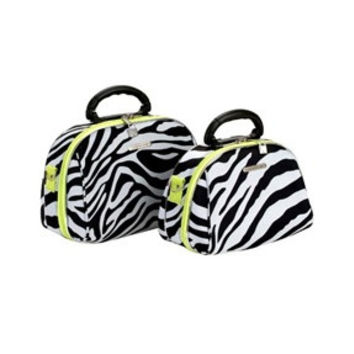 Fox Luggage 2 Piece Cosmetic Case Set in Lime Zebra