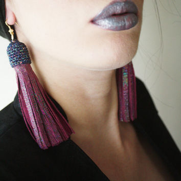 GALAXY - Leather Tassel Earrings Hot Pink Galaxy Earrings Leather Jewelry Leather Accessories Statement Earrings