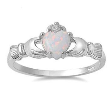 9MM 2ctw Sterling Silver OCTOBER WHITE OPAL BIRTHSTONE ROYAL IRISH Claddagh Ring 4-10: Jewelry: Amazon.com