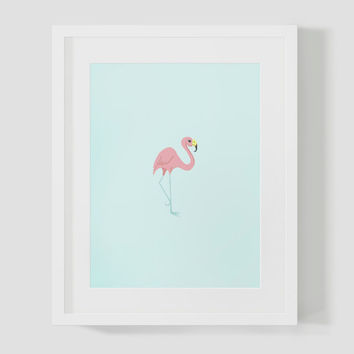 Mint & Pink Flamingo Wall Art 8x10 Print