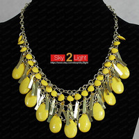 Yellow Bubble Necklace sequins Hifashion Necklace beaded Necklace wedding jewelry Statement Necklace Smooth Bubble Necklace