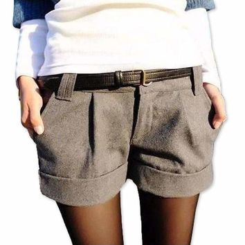 Women Shorts Turn Up Straight Woolen Bootcut Short Pants Casual Shorts Black Grey Woolen Slim Female
