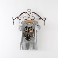 Girls Sequins Owl top