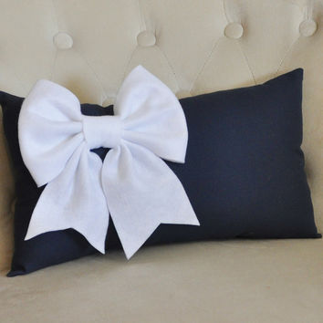 White Bow on Navy Lumbar
