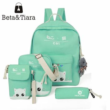 New school knapsack teenage girls schoolbag canvas print backpack 4pcs/set cat bag teen backpack mochila lona mochila kawaii