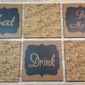 Eat Drink & Be Merry Coffee Espresso Wall Art Pack of 6 Canvas Wall Hangings. Dining Room Decor. Kitchen Decor. Dining. Home Decor.