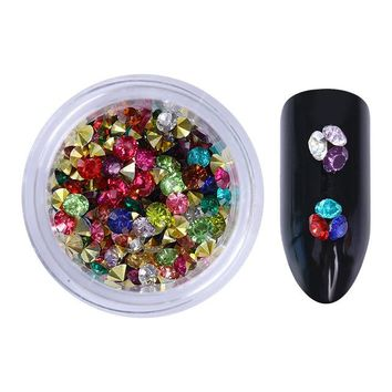 16 Patterns Nail Crystal Rhinestones Set Multi-size Sharp Bottom Mixed Color Nail Art 3D Decoration Manicure DIY