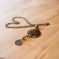 Bronze tree of life boho necklace