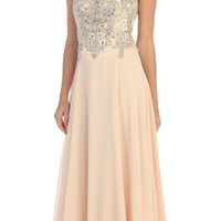 Starbox USA L6098 Champagne Illusion Bateau Neck Chiffon Jeweled Bodice Cap Sleeves Prom Dress