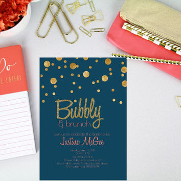 Champagne Brunch bridal shower Invitation/ Champagne Bridal Shower/ Navy Blue, Coral and Gold invitation/ Bridal shower invitation